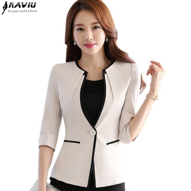 La carrera femenina media manga de la manera mujeres blazer Nueva OL plus tamaño delgado formal chaquetas señoras de la oficina más tamaño ropa de trabajo uniforme