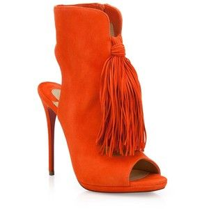 Christian Louboutin Fringed Suede Peep-Toe Booties