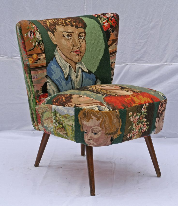 50-er jaren #Artifort #fauteuil gestoffeerd met hangeborduurde #gobelins van #BroKaat http://kunstmarktplaats.nl/ads/vintage-artifort-fauteuil-2/ #kunst #art