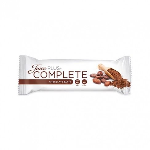 DETAILS + a bar for your active lifestyle + tastes delicious and really chocolatey refined with cranberries and flaxseed + rich in omega-3 fatty acids + high dietary fibre content + suitable for vegans + gluten-free + complete meal replacement + without preservatives + helps reduce unnecessary calories Each delivery consists of: 4 boxes with 15 Juice PLUS+ Complete Chocolate Bars