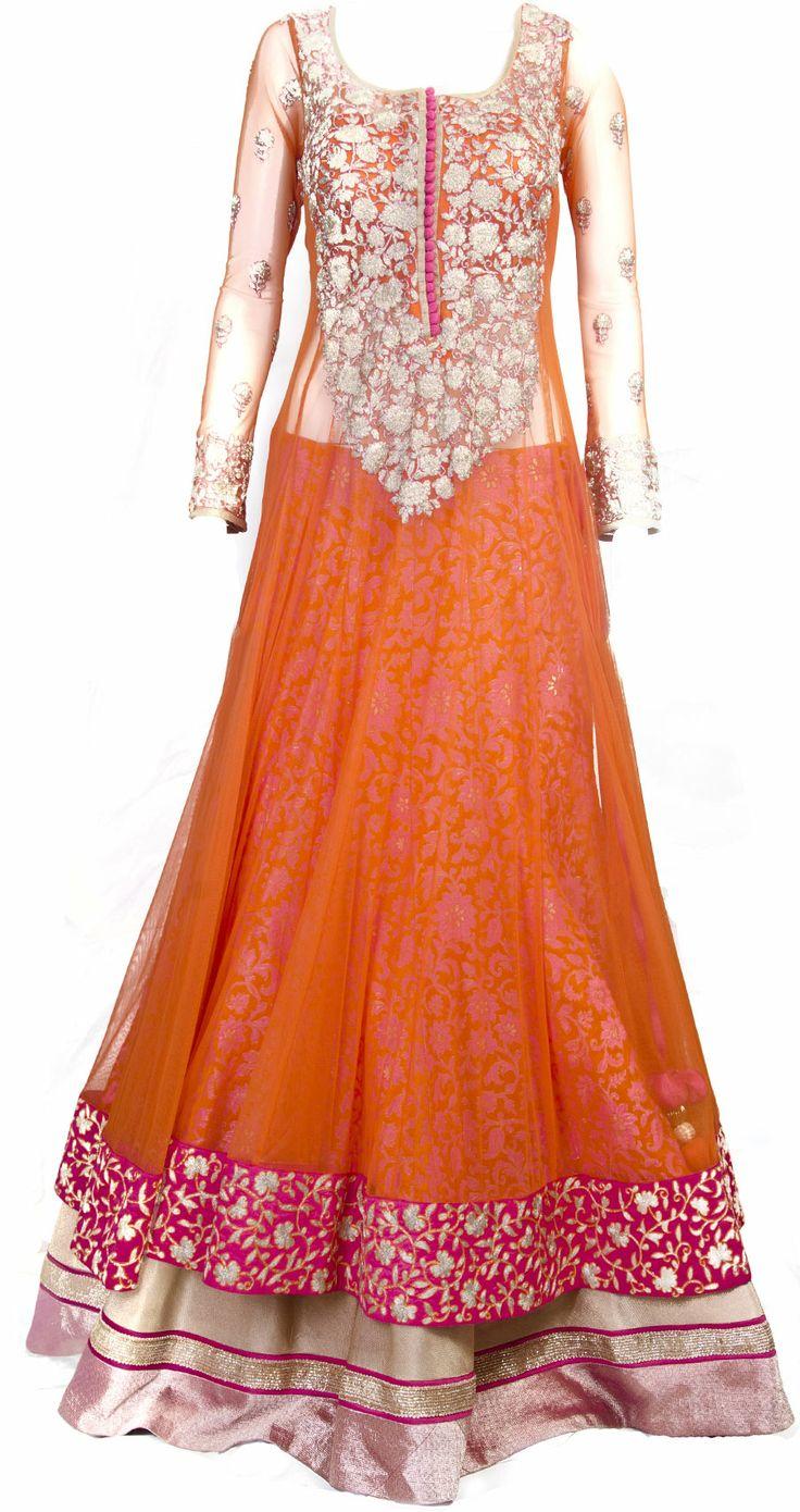 Orange sheer layered anarkali lehenga available only at ...