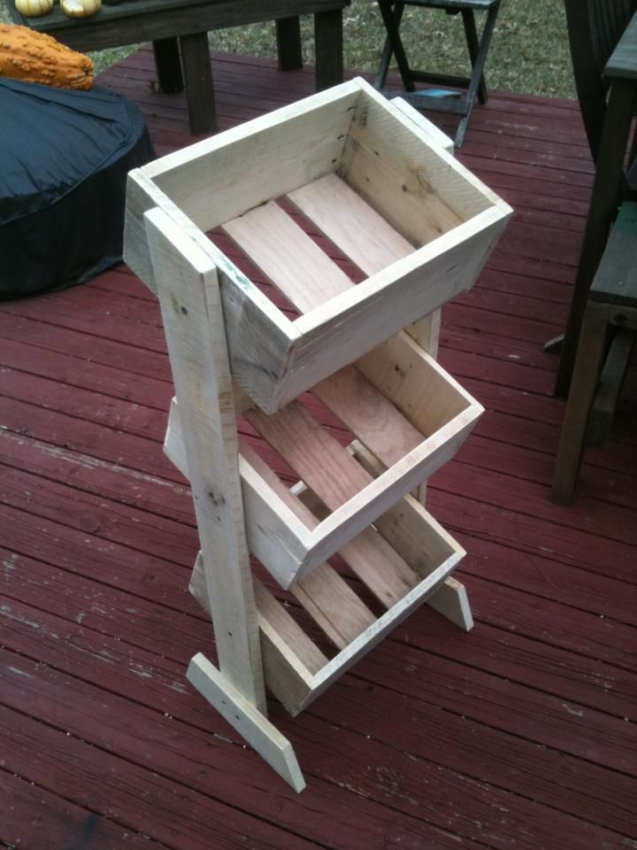 Three Tiered Storage From Reused Wood- I want to make this and paint it a fun accent color for the kitchen!!!