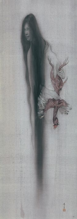 Nyctalopia - Fuyuko Matsui, 2005 / Hanging Scroll--Color Pigment on Silk / 138.2×49.6