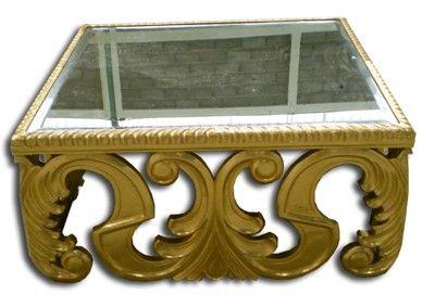 Table basse dorée patiné à la feuille d'argent. Collection meubles de luxe baroques. Vente ou location. http://www.location-mobilier-paris.com/ #mobilier #baroque #decoprive
