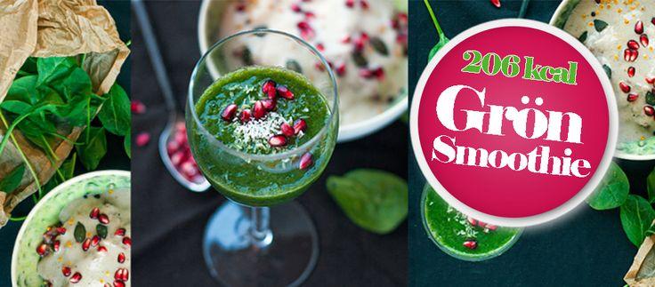 Smoothie 5:2 - Grön vitaminrik kaloriberäknat recept - Spenat, avokado, banan och färskpressad apelsinjuice gör denna smarriga smoothie.