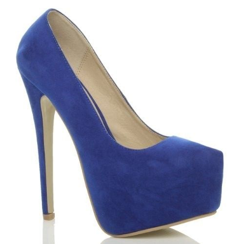 Mavi Renk Süet Platform Topuklu Ayakkabı