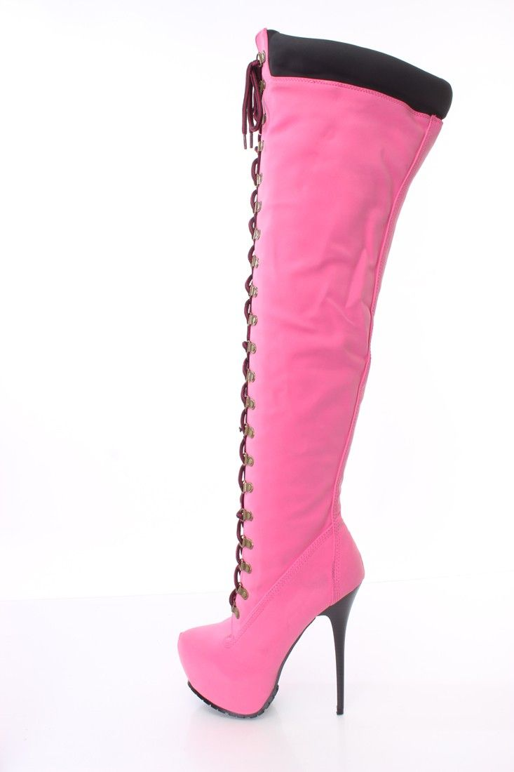 Hot Pink Lace Up Thigh High Platform Boots Faux Leather Pink Boots, Sexy  Boots,