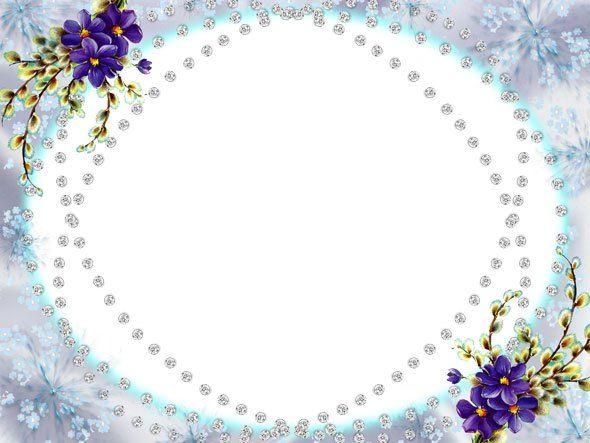 Красивая овальная рамка с фиолетовыми цветами для оформления фото в Фотошопе