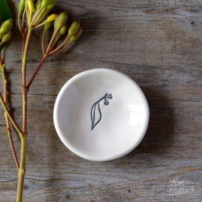 Bush Prints Collection ~ eucalypt tiny porcelain bowl    A collaboration between artist Renée Treml and Kim Wallace Ceramics ~ Handmade Australian Ceramics