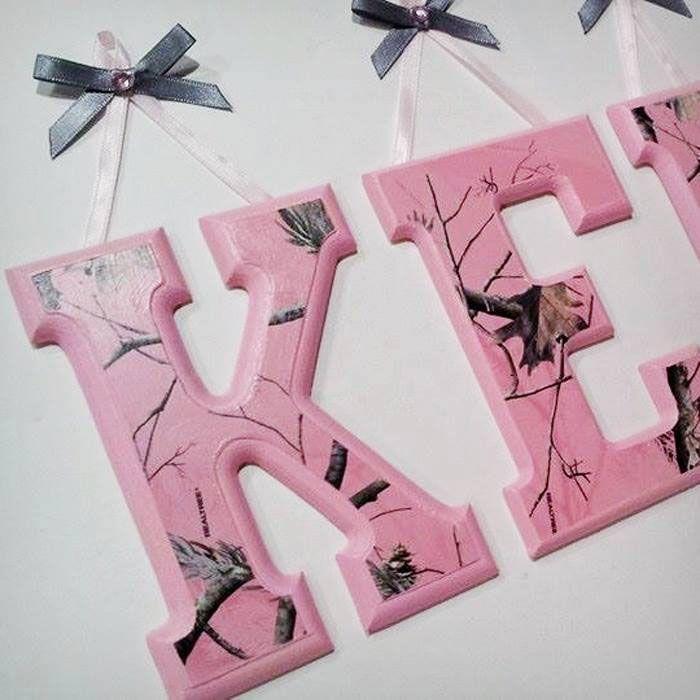 Pink Camo Wooden Nursery Letters
