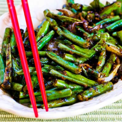 Recipe for the World's Easiest Garlicky Green Beans Stir Fry; this is one of the best recipes I've ever found for fresh green beans from the garden.  [from Kalyn's Kitchen]