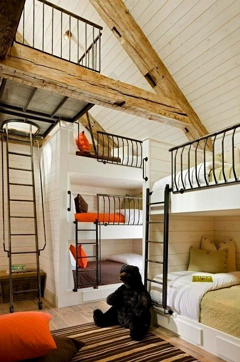 How about this barn loft bunk room for kids for a family vacation house.  Sounds like the best idea EVER.  Wish I had this as a kid =)