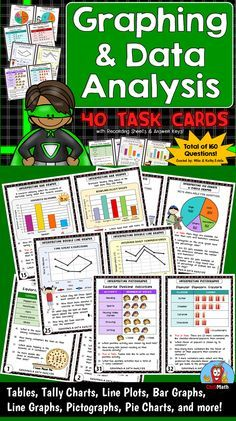 This set of 40 task cards (with 160 questions total) is designed to help students learn or practice how to read, analyze, and interpret data presented in tables and various forms of graphs. $