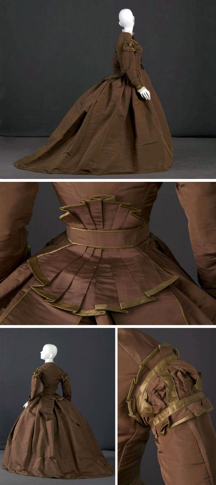 Trousseau dress, 1869. Dark brown silk poplin trimmed with light brown-yellow silk satin. Bodice has crew neckline with long sleeves & center front button closure. Skirt is full with cartridge pleats into waistband & small train. Belt has fishtail design at center back and closes with hook & eyes. Chicago History Museum