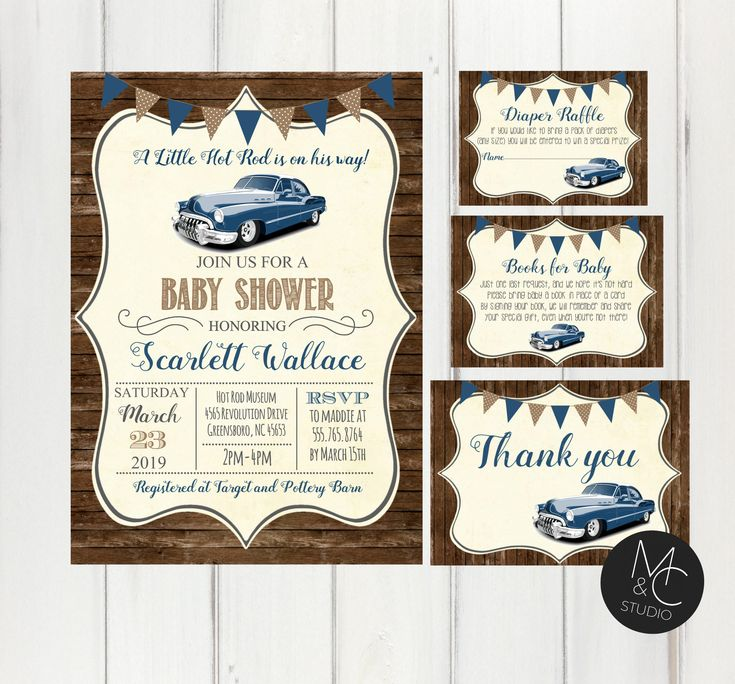Baby Shower Hot Rod Classic Car Wood Baby Boy Auto Muscle Car Shower Invite, Invitation Blue, Diaper Raffle Book Request, Thank you card