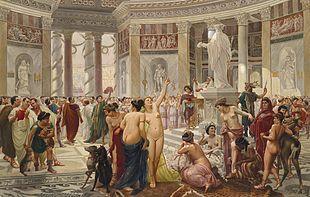Representation of the floralia festivities , organized by construction plebeians in Rome. Prosper Piatti (c. 1842-1902 ).