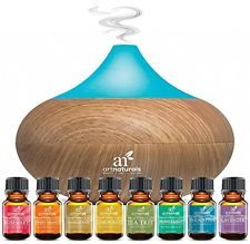 Art Naturals Essential Oil Diffuser 100ml & Top 8 Essential Oil Set - Peppermint, Tee Tree, Rosemary, Orange, Lemongrass, Lavender, Eucalyptus, & Frankincense - Auto Shut-off and 7 Color LED Lights