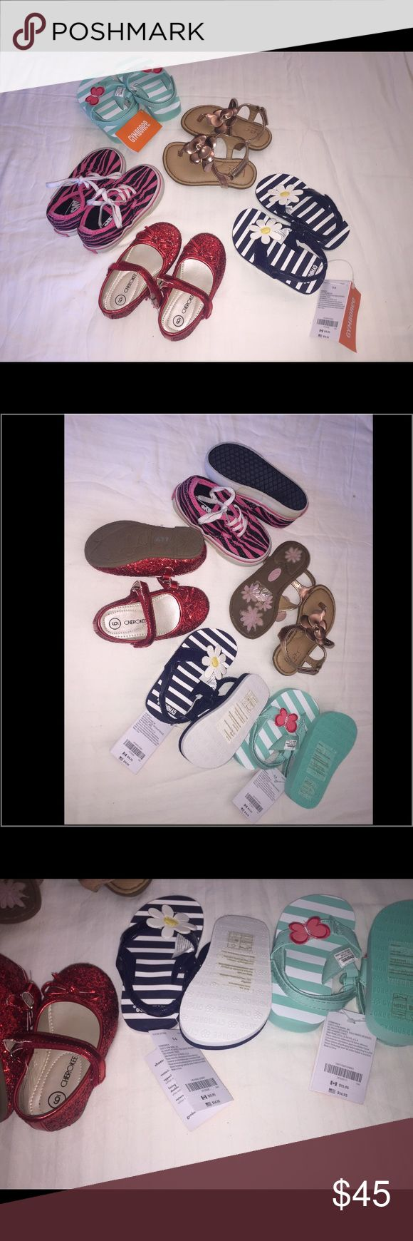 Toddler Girls Shoes Lot 5 pairs of toddler sneakers, sandals, and flip flops *Vans sneakers gently worn condition size 6 *Cherokee ruby red ballerina flats, new without tags, size 6 1/2  *B.O.C gold sandals size 6 *Gymboree navy blue flower flip flops, new with tags, size 5/6 *Gymboree butterfly flip flops, new with tags, size 5/6 All 5 pairs of shoes for $45 Gymboree, Vans, b.o.c, Cherokee Shoes