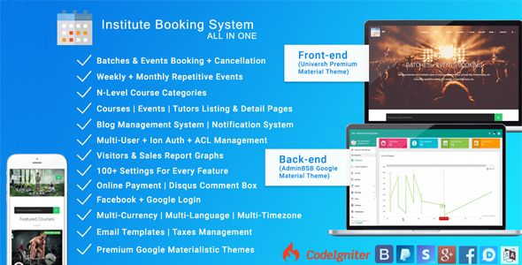 Institute Booking System - Events & Batches Booking . It's a web application with website & admin panel. It's helpful for Institutes which provides premium batches and events bookings for their members. Educational institutes, clubs, gyms, etc are best suited for this