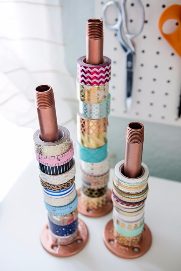 DIY Craft Room Storage Ideas and Craft Room Organization Projects - Industrial Pipe Holder - Cool Ideas for Do It Yourself Craft Storage, Craft Room Decor and Organizing Project Ideas - fabric, paper, pens, creative tools, crafts supplies, shelves and sewing notions http://diyjoy.com/diy-craft-room-storage