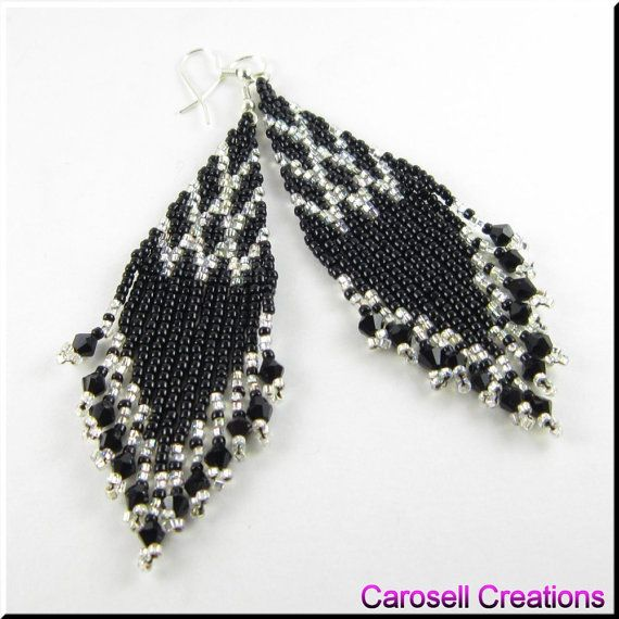 Jewelry, Earrings, Beaded, carosell creations, brick stitch, weave, woven, dangle, chandelier, glass, seed bead, pierced, accessories, hand made, craft, holiday gift idea, bride, bridal, wedding, fringe, gypsy, boho, unique, belly dancer, black, silver, bling, women, native american indian, southwestern