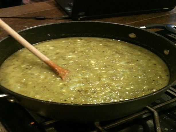 Every New Mexican cook has a green chile sauce, but it has to be very good sauce, or her reputation as a good cook suffers. They serve this sauce at any meal. At breakfast it is served over eggs or potatoes. It is used over burritos, in enchiladas, or over grilled meats and roasted potatoes for lunch or dinner. It is best when it is fresh or used within one day of being made. This recipe comes from Sandy Szwarcs  Real New Mexico Chile .