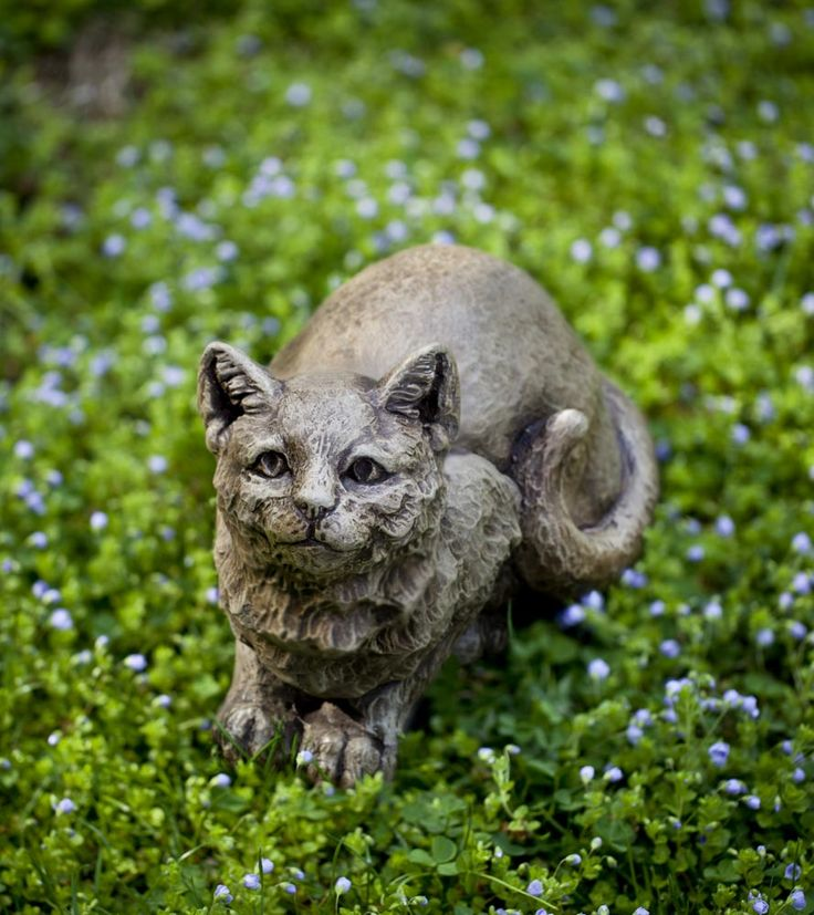 Just Waiting For You To Come Give Him A Pat, The Patience Cat Garden Statue