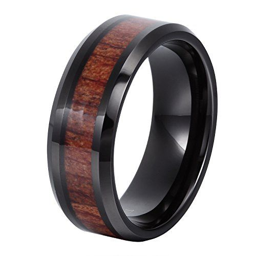 8mm Flat Beveled Tungsten Ring Wood Inlay Wedding Bands Black Plated Couple Rings Mens Womens Tungsten Bands. Express your unique sense of style with a bold and powerful metal. Tungsten wedding bands with wood inlays merge exquisite style with strength to produce a ring that lasts a lifetime. Polished edge and inner smooth arc design provide perfect comfort fit.