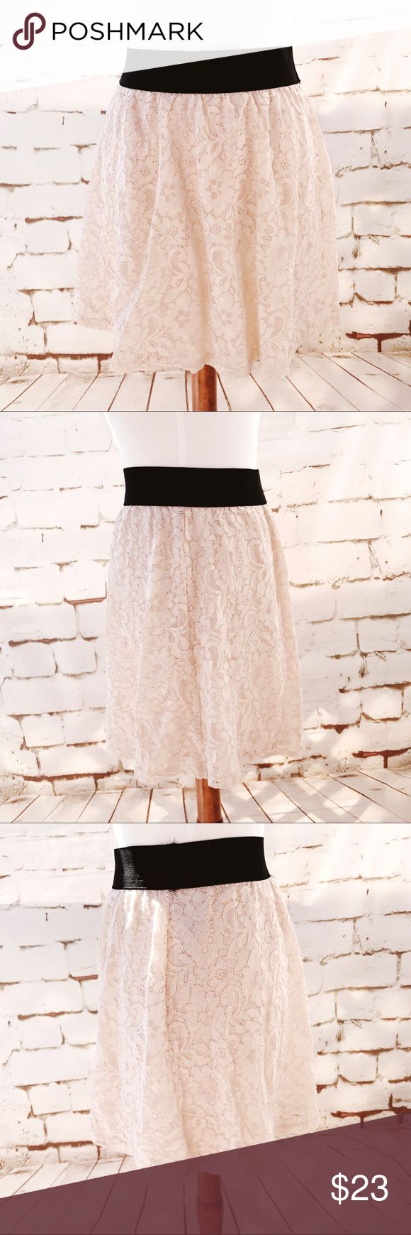 Forever 21 Pail Pink Lace Mini Skirt Forever 21 Pail Pink Lace Mini Skirt.  See pictures for material and measurements Forever 21 Skirts Mini