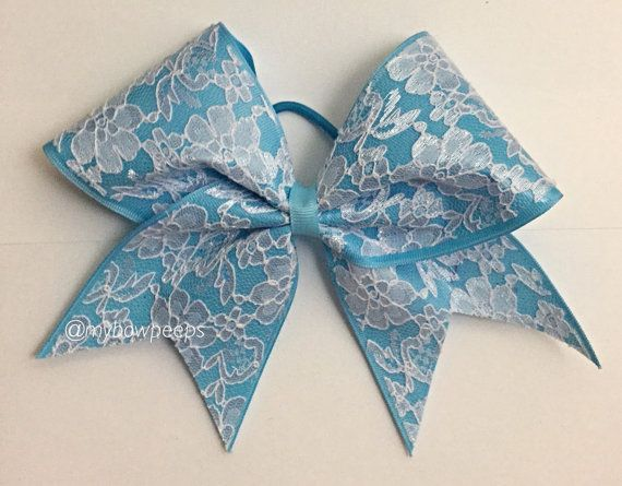 Lace on Blue cheer bow by MyBowPeeps on Etsy