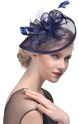 372a46b3c89 TCYIN Fascinator Hats with Headband Hair Clips for Women Tea Party Wedding  Kentucky Derby
