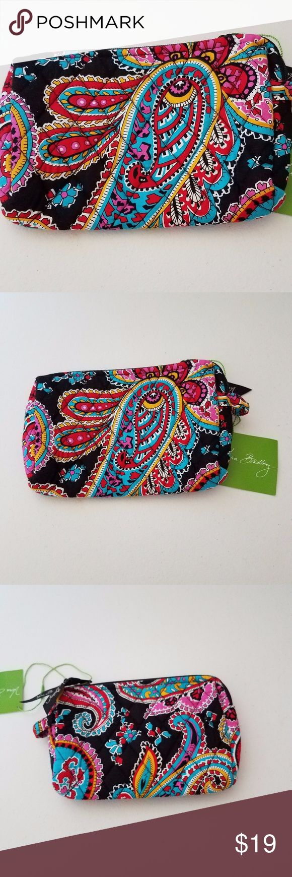 Vera Bradley Small Cosmetic Bag Vera Bradley small cosmetic bag in Parisian Paisley (retired pattern: July 2015 - May 2016) New with tag Zip closure and has small loop on one side Measurements in photos Vera Bradley Bags Cosmetic Bags & Cases
