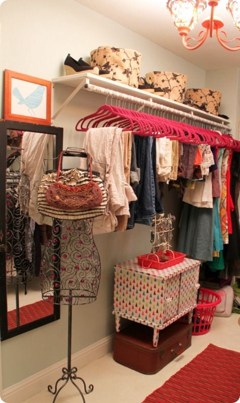 For the walk-in closet-you should get a rack like this to hang for your clothes and then you can put your dresser beneath your clothes.