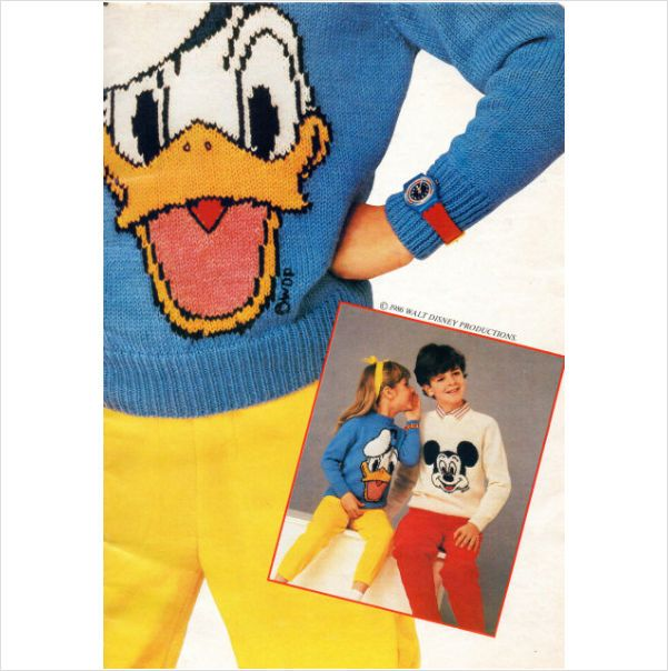Woman's Weekly Child's Donald Duck & Mickey Mouse motif sweater knitting pattern on eBid United Kingdom