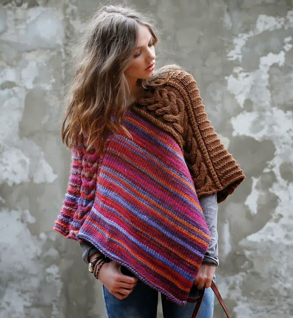Knitting Poncho With Two Rectangles : Poncho easy rectangles sewn together the