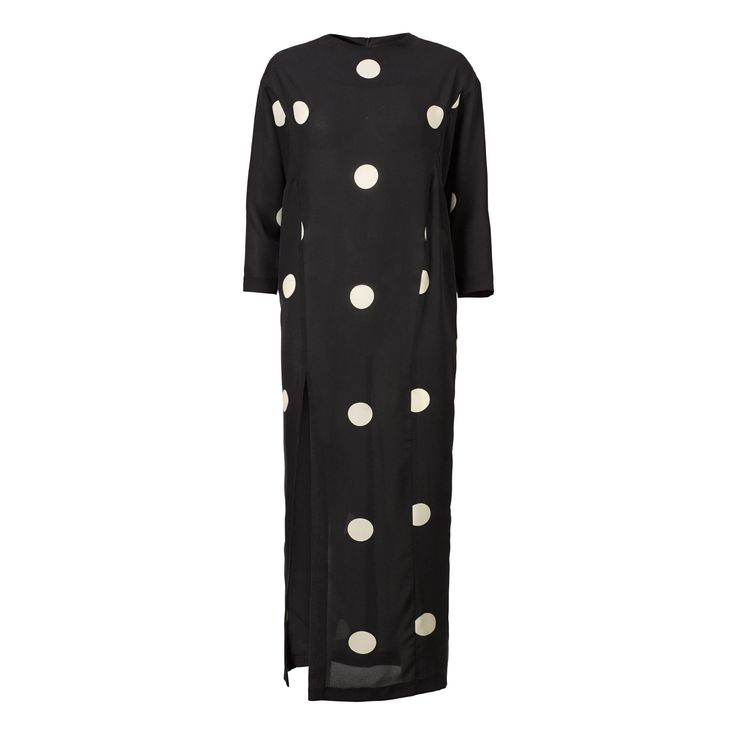 Gaia long dress - mega dot b/w