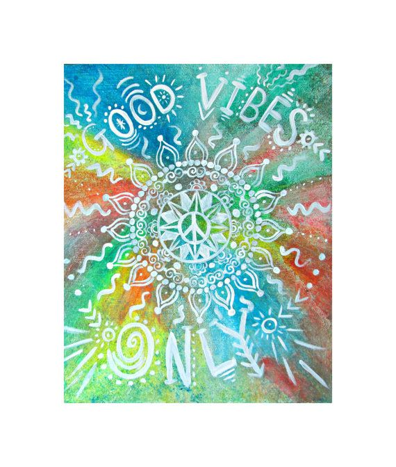 Good Vibes Only Print - Bohemian Art - Boho Home Decor - Hippie Art - Hippie Painting - Hippie Decor - Inspirational Quote Art
