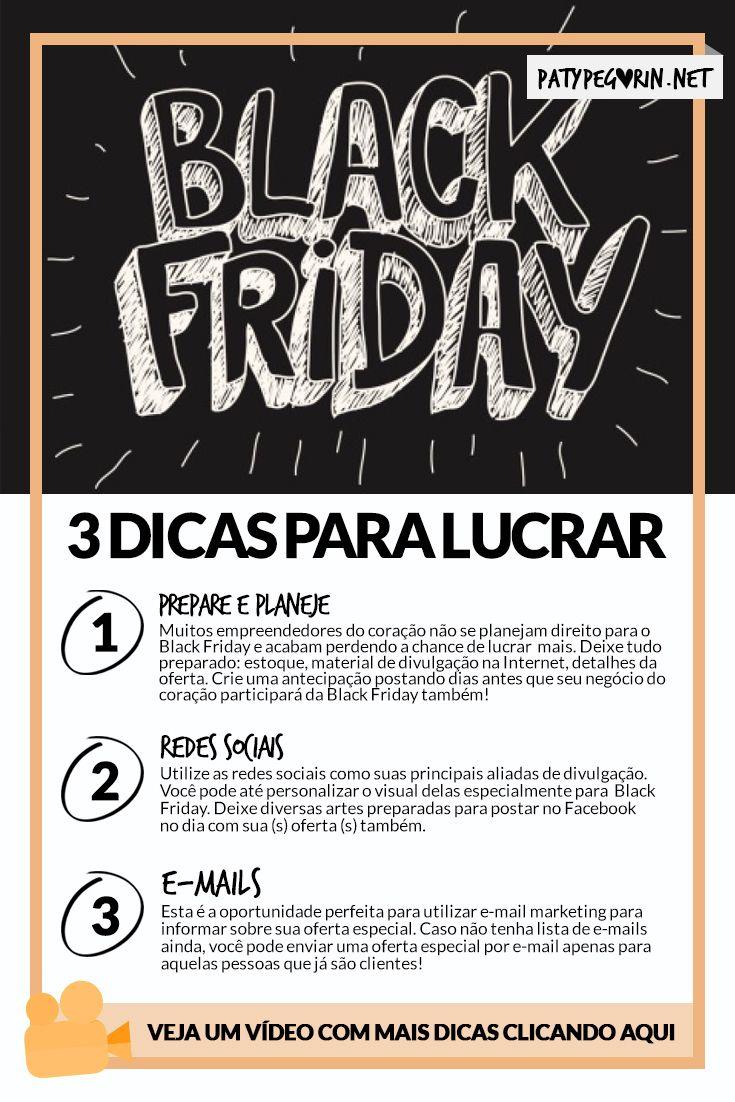 Black Friday - 3 dicas para lucrar mais com seu negócio do coração!  Veja um vídeo com mais dicas em http://patypegorin.net/black-friday