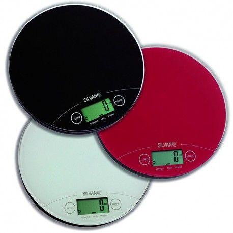 Bascula redonda electrónica de cocina con pantalla LCD y pila de litio
