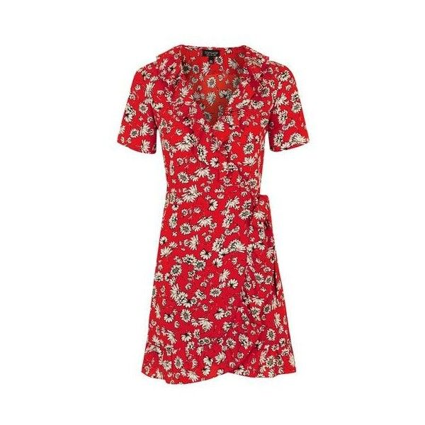TopShop Daisy Tea Dress (80 CAD) ❤ liked on Polyvore featuring dresses, red, floral print dress, red retro dress, wrap dress, floral wrap dress and topshop dresses