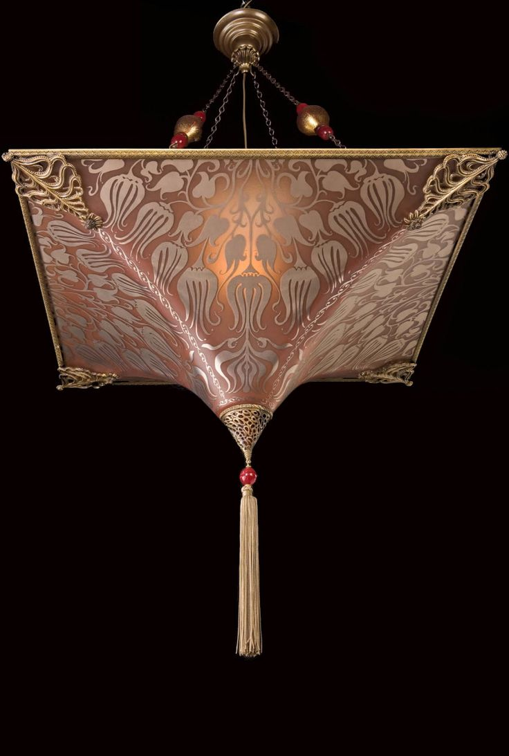 Featuring hand painted Venetian Murano glass reproductions of the original lamps designed by Mariano Fortuny Y Madrazo (1871 - 1949)