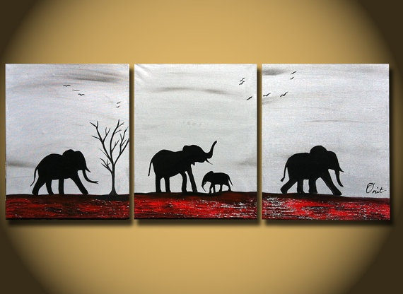 Original Painting Large Abstract Elephants Family by OritArt