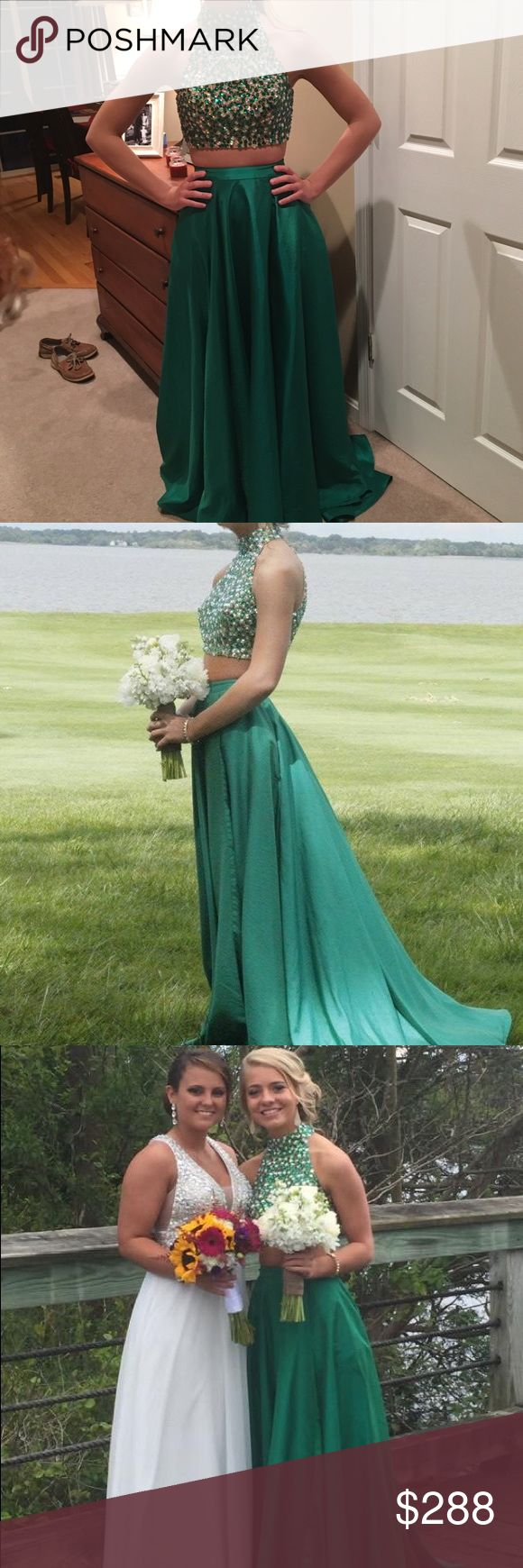 Sherri Hill 2 Piece Prom Dress USED* Emerald green Sherri hill authentic prom dress. High neck, key hole back, two piece dress. Was originally a size two but skirt was taken in to be a 0. Can be let back out if needed. Hemmed at the bottom for 5'4 without heels. Height may also vary to where you place the skirt on your stomach though. Beautiful dress, many compliments. Sherri Hill Dresses Prom