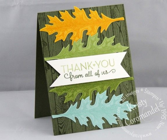Masculine Thank You Card.  Featuring Vintage Leaves from Stampin' Up!