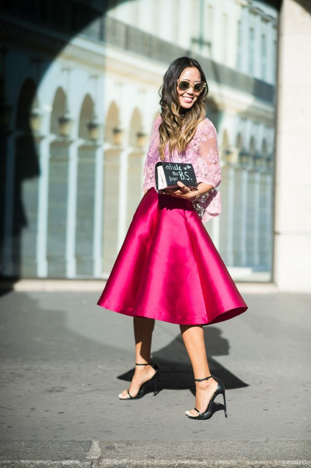 Brights in street style. Aimee song at Paris Fashion Week Spring 2015. #PFW #SongOfStyle