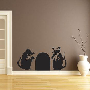 Banksy Bouncer Rats Wall Sticker