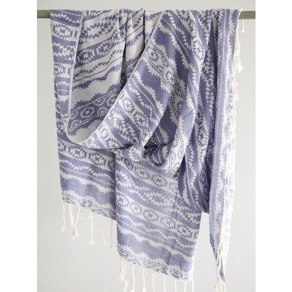 Aztec Beach Towel Blue Fouta Towel Southwestern Style Peshtemal... ($35) ❤ liked on Polyvore featuring home, bed & bath, bath, beach towels, bathroom, home & living, silver, lightweight beach towel, aztec beach towel and jacquard beach towel