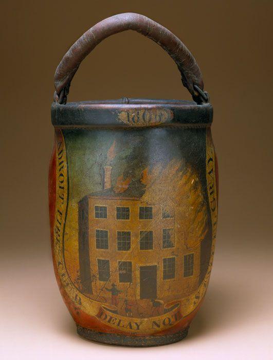 Firebucket, Adroit Fire Club, Salem, MA, 1830-1840, leather, paint, iron