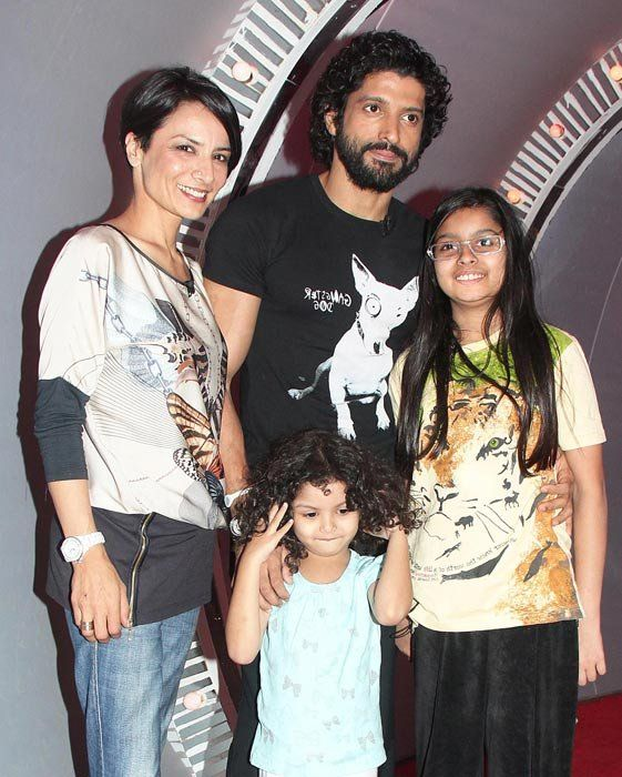 Farhan Akhtar with his wife Adhuna and two cute daughters Shakya and Akira