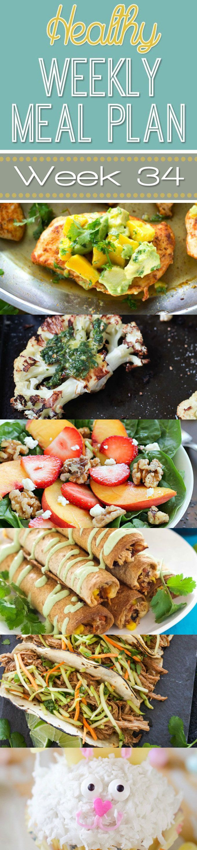 A delicious mix of healthy entrees, snacks and sides make up this Healthy Weekly Meal Plan #34 for an easy week of nutritious meals your family will love! #Healthy #MealPlan